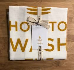 How to Wash the Dishes Linen Tea Towel by StudioPatro